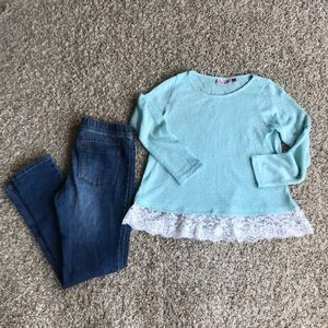 Girls outfit size 12 jeggings shirt